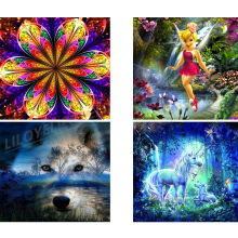 Full Square/Round Drill 5D DIY Diamond Painting unicorn Forest Wolf Diamond Embroidery Fairy girl mandala home decoration FG1568(China)