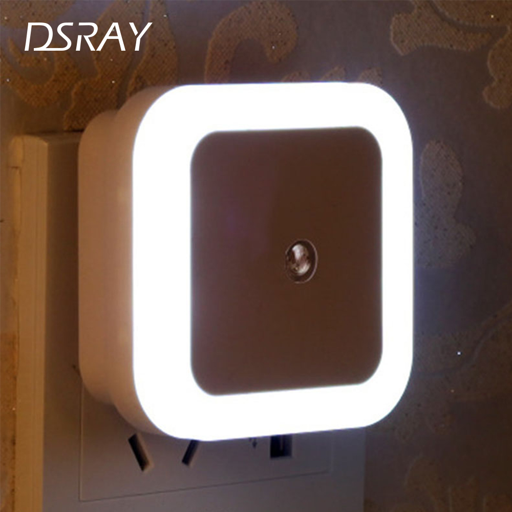 Nersury Light Sensor LED Night light Square Lamp Children 110V 220V Bedroom Mini Smart Night Light Kid LED Sensor Night Lamp 1