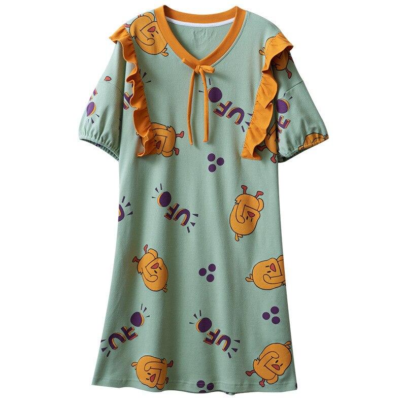 2020 New Spring Summer Nightdress Lovely Women's Sleepwear Soft Cotton Casual Home Wear Cartoon Ladies Nightwear Big Size Pijama 6