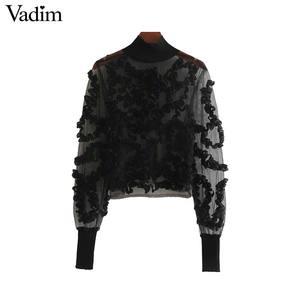 Image 2 - Vadim 女性セクシーな透明なメッシュショートブラウス長袖クロップトップ女性スタイリッシュなパーティークラブシャツ blusas LB543