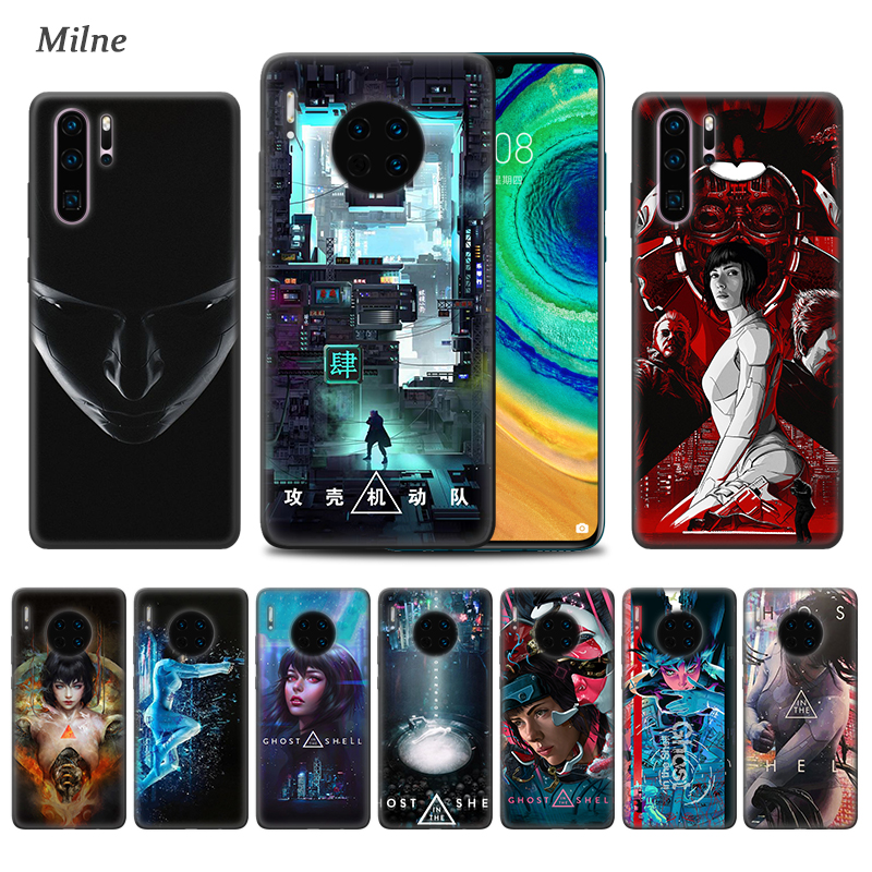 <font><b>Ghost</b></font> <font><b>in</b></font> <font><b>the</b></font> <font><b>Shell</b></font> <font><b>Case</b></font> for Huawei P20 P30 Lite P10 P9 P Smart Plus 2019 Mate 10 20 30 Pro 5G Black TPU Phone Coque Carcasa image