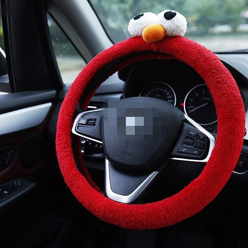 2018 Winter New Style Car Steering Wheel Cover Women's Plush Cartoon With Big Eye Steering Wheel Cover South Korea Cute Grip Cov