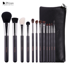 DUcare 12Pcs professional Makeup Brushes with Leather Bags Nature Hair Make Up Wooden handle makeup brush set