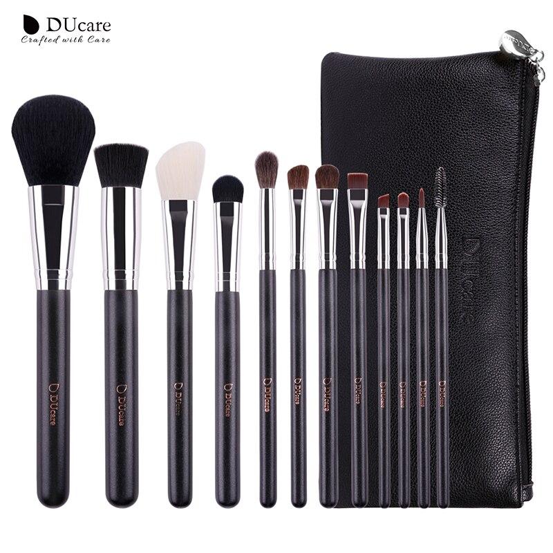 DUcare 12Pcs professional Make-Up Pinsel mit Leder Taschen Natur Haar Make Up Pinsel Holz griff make-up pinsel set