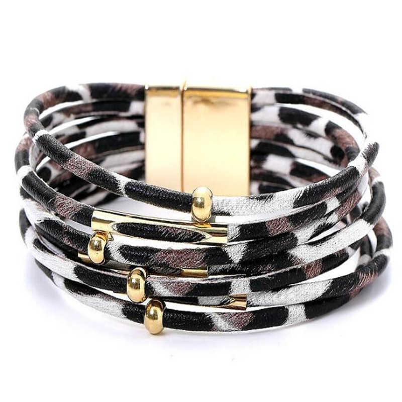Luipaard Lederen Armbanden Voor Vrouwen 2020 Fashion Armbanden & Bangles Elegante Multilayer Breed Wrap Charm Armband Sieraden