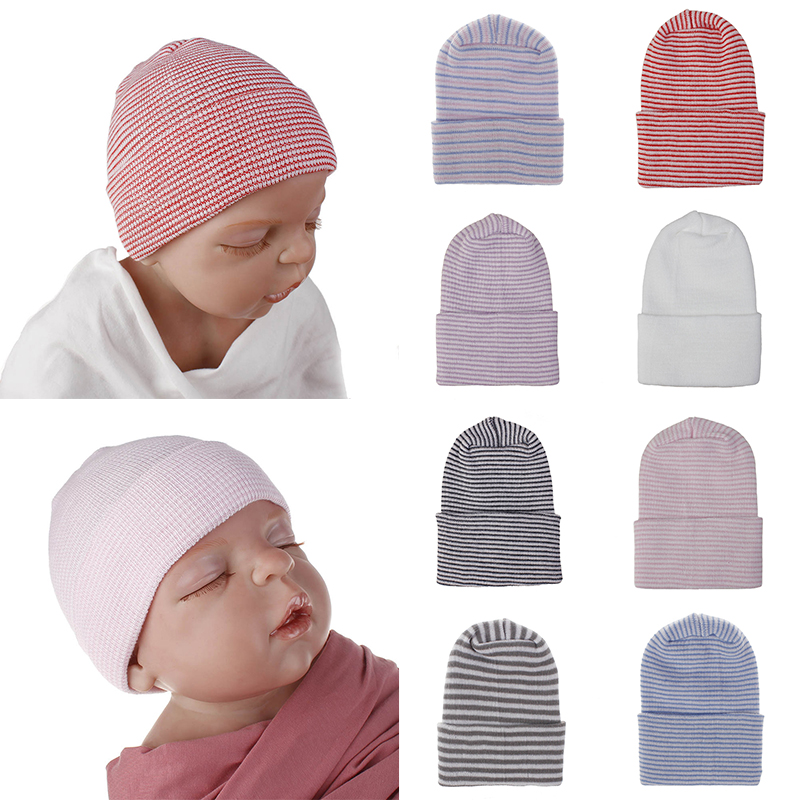 Newborn Baby Girl Infant Stripe Striped Outdoor Casual Beanie Hospital Hat Caps Kids Clothes Baby Girl Boy Hat Knitted Bandanas