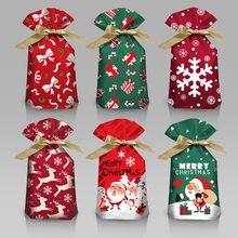 10 قطعة شنطة هدايا سانتا كاندي حقيبة ندفة الثلج هش الرباط حقيبة عيد ميلاد سعيد زينة للمنزل السنة الجديدة 2021 نويل هدايا