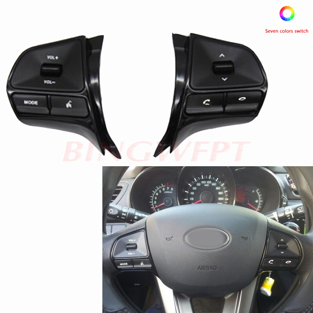 New with 7 color button!!For KIA k2 new Rio 2011 2016 Multifunction Steering wheel button for Audio and Bluetooth control with|Car Switches & Relays| |  - title=