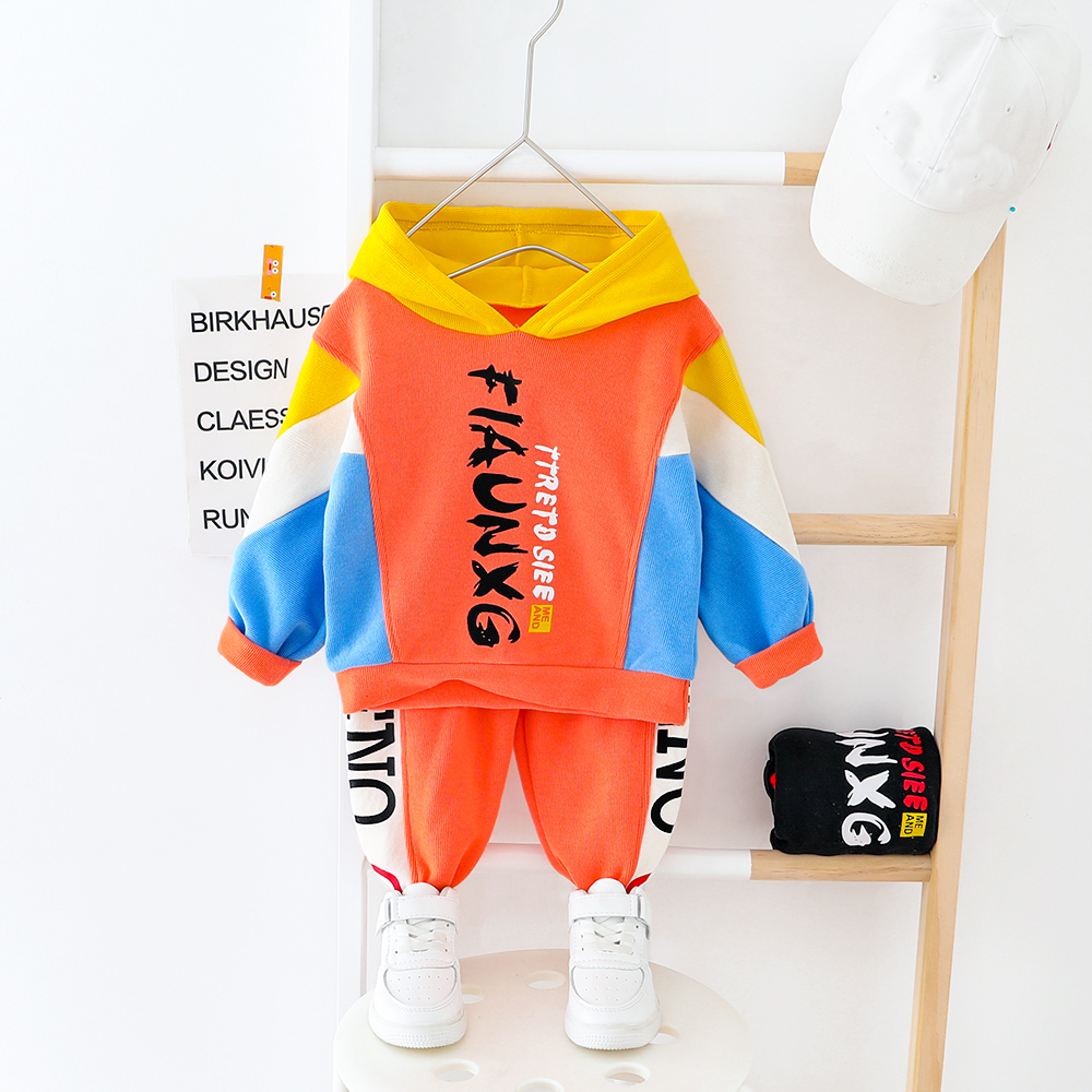 Toddler Clothes Boys Girls Sport Suits Patchwork Hooded Sweatshirt Outfit Infant Kids Children Letter Clothes For 1 2 3 4 Years