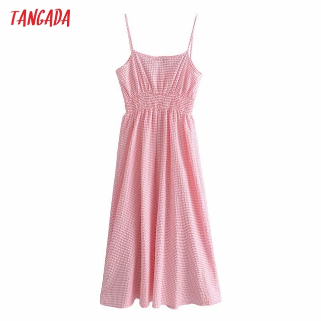 Tangada Women Pink Plaid Long Dress Strap Sleeveless 2021 Summer Fashion Lady Elegant Dresses Vestido 3H114 6