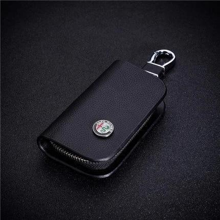 Leather Car Key Protection Bag Car Key Holder Keychain Ring Case For Alfa romeo