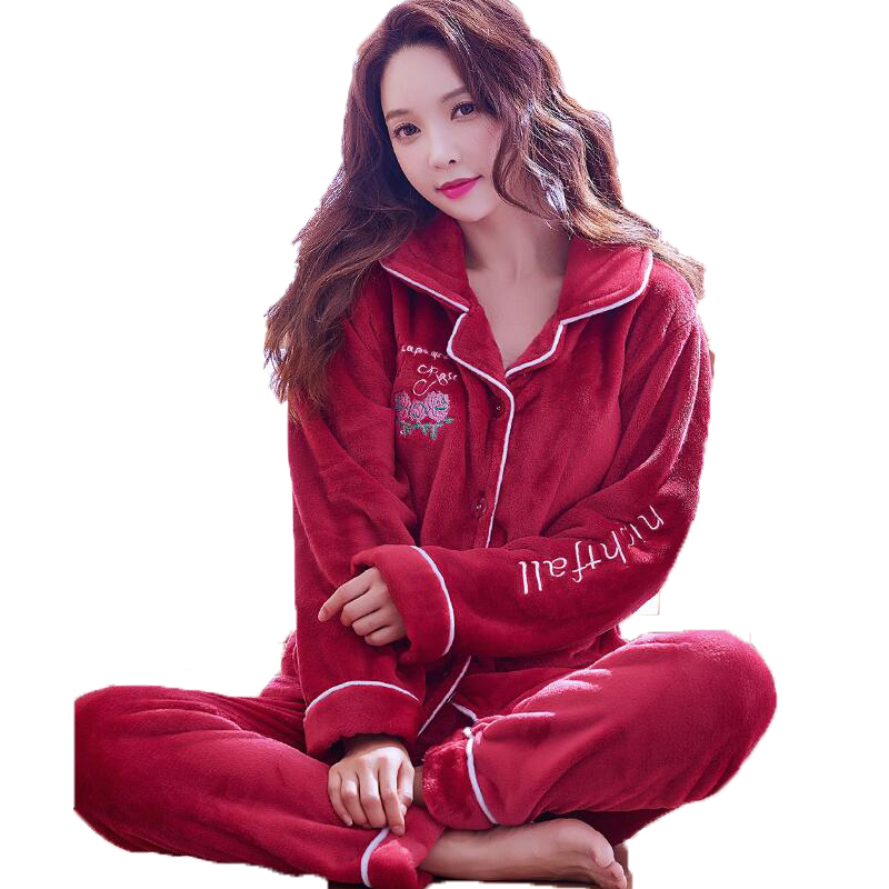 Women's Pyjamas Winter Flannel Pajama Set Women Long Sleeve Full Pants Sleepwear Suit PJ Set Loungewear Homewear Home Clothes