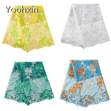 Fashion african fabric lace embroidery flower lace collar Fabric Sewing Applique DIY ribbon trim craft guipure cloth dress decor 20cm wide new colorful embroidery flower lace collar fabric sewing applique diy ribbon trim wedding dress guipure new year decor