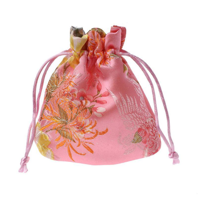 Classic Chinese Flower Embroidery Jewelry Bag Organizer Silk Traditional Pouch