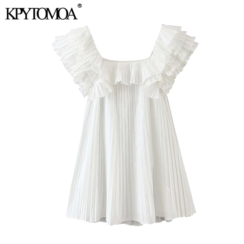 KPYTOMOA Women 2020 Sweet Fashion Ruffles Pleated Mini Dress Vintage Square Collar Short Sleeve Female Dresses Vestidos Mujer