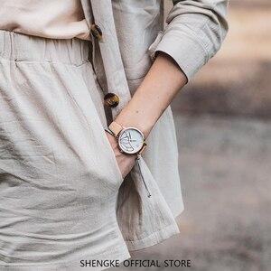 Image 2 - Shengke nova marca de luxo das mulheres relógio simples quartzo senhora relógio de pulso à prova dwaterproof água moda feminina relógios casuais reloj mujer