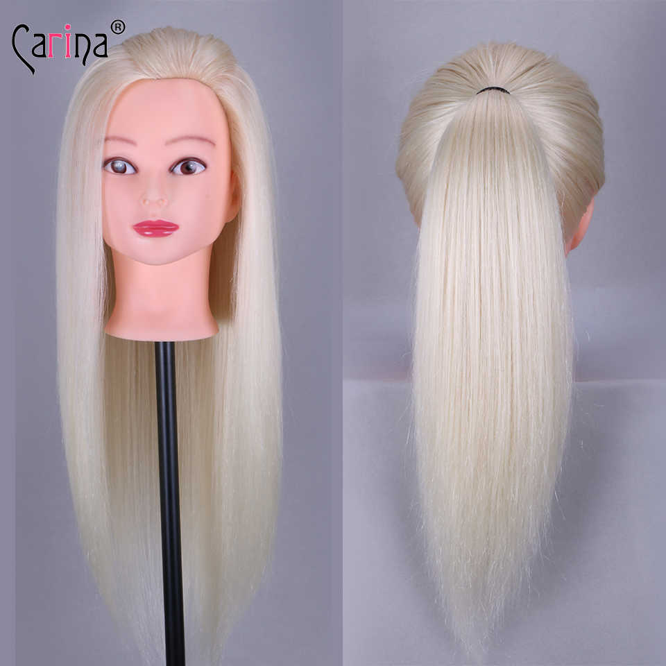 55 Cm 80% Lange Echt Haar Mannequin Hoofd Voor Kapsels Kappers Pop Hoofd Met Natuurlijke Haar Pop Training Dummy Kosmetiek