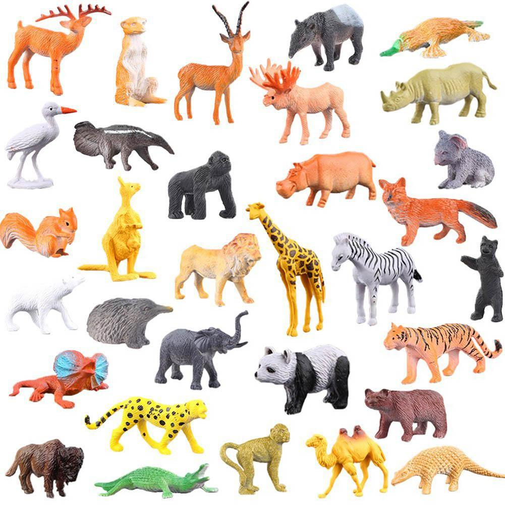 53pcs/pack Jungle Animal Model Simulation Animal World Toy Set Mini Animal World Zoo Plastics Collection Toy For Kids Gifts