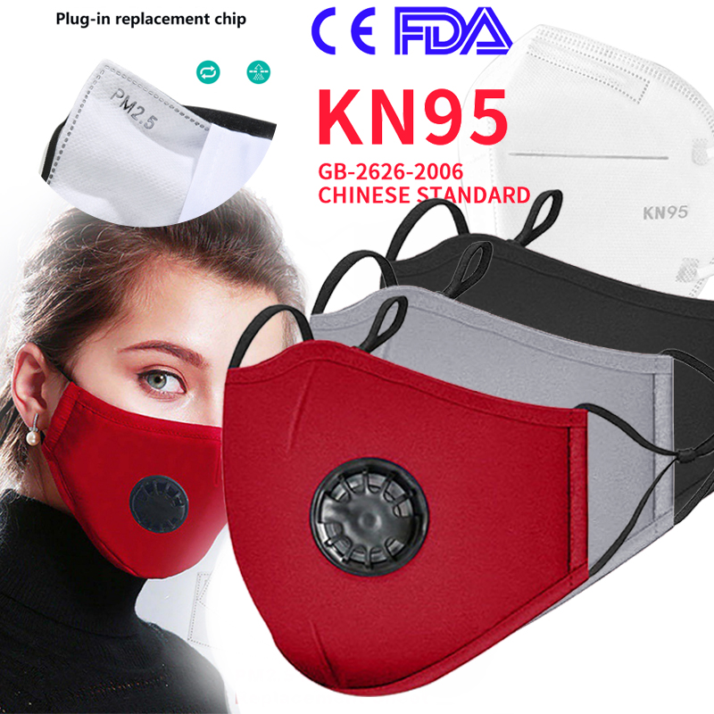 Mask Fashion Unisex Cotton Breath Valve PM2.5 Mouth Mask Anti-Dust Anti Pollution Mask Cloth Activated Carbon Filter Respira