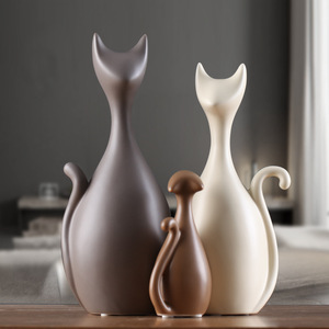 Image 2 - Vileadセラミック家族 3 4 猫の置物北欧動物リビングルーム装飾家の装飾品工芸品結婚式のためのギフト