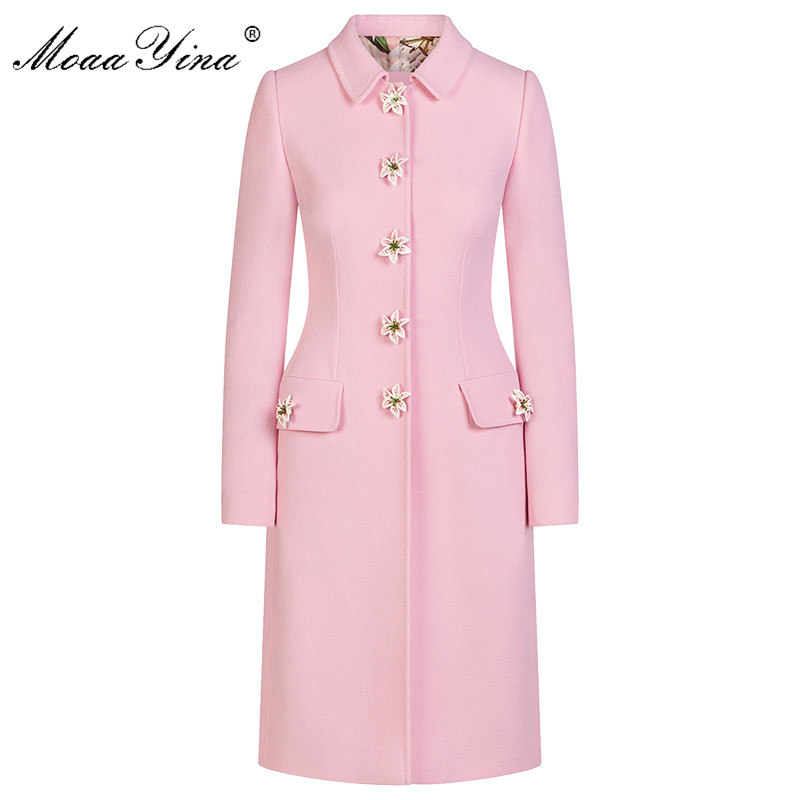 MoaaYina Fashion Designer Pink Windbreaker Overcoat Autumn Winter Women Long Sleeve Lily Button Keep Warm Windbreaker Overcoat