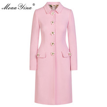 MoaaYina Fashion Designer Pink Windbreaker Overcoat Autumn winter Women Long sleeve lily Button Keep warm