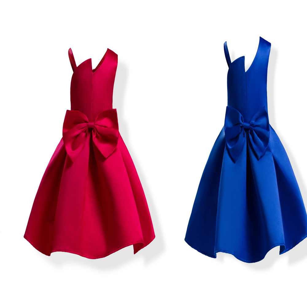 Girls' Blue And Red Bow Summer Dresses 2019 Girls' Princess Party Dresses Wedding  Formal  Dress  For  Girl  Costume