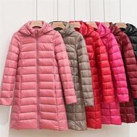 2021 Winter Dünne Frauen 90% Weiße Ente Unten Jacke Große Größe Unten Jacke Dame Midi Lange Unten Mantel Mit Kapuze Mäntel weibliche Jacken 403