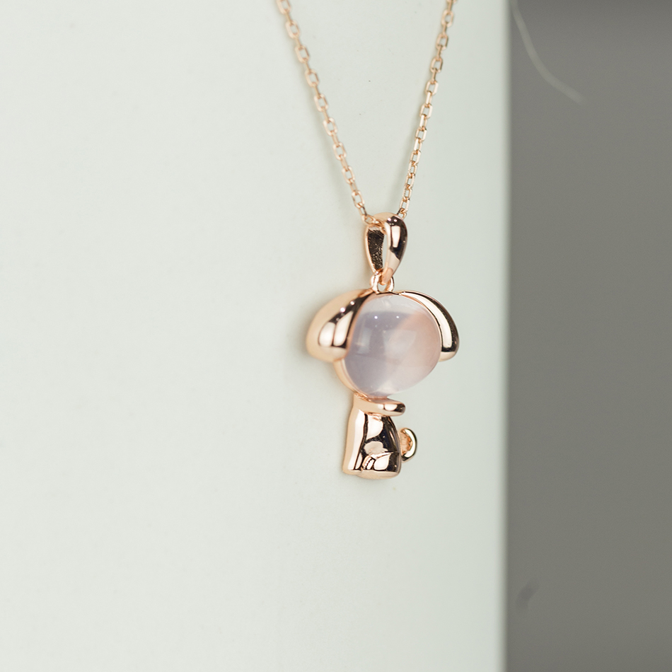 ALLNOEL 2019 New S925 Rose Quartz Pendant Necklaces Natural Pink Gemstone Lovely Dog Charm Link Chain Choker Necklace Jewelries (6)