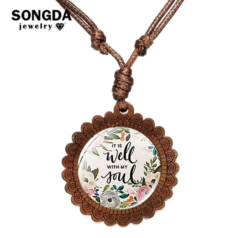 SONGDA It Is Well with My Soul Wooden Pendant Nacklace Wax Rope Chain Wisdom Bible Verse Scripture Quote Jewelry Christian Gift image