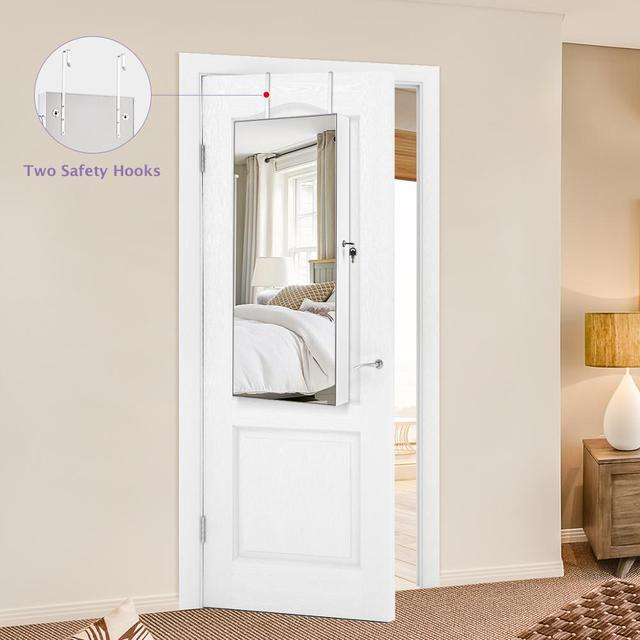 Multifunctional LED Jewelry Mirror Cabinet Wall Door Mounted Jewelry Cabinet Lockable Armoire Organizer Dresser Mirror with LED 3