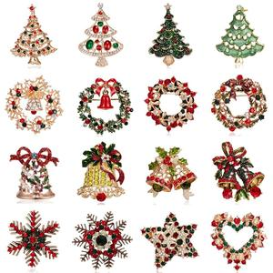 16 Styles Christmas Tree Wreath Bells Snowflake Brooches Delicate Shinny Crystal Rhinestone Pin Brooch For Women Christmas Gifts