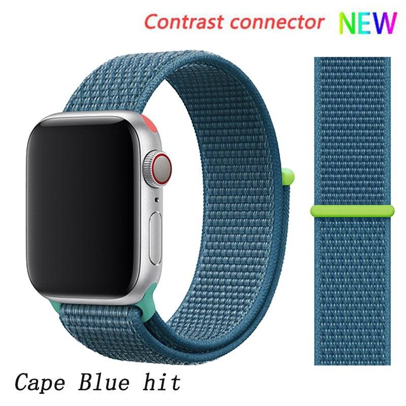 Спортивная петля ремешок apple watch band 42 мм 38 мм apple watch 4 3 band iwatch band 44 мм 40 мм correa pulseira 42 44 нейлоновый ремешок для часов - Цвет ремешка: Cape Blue 6 hit