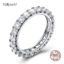 Real 925 anéis de prata esterlina impressionante completa 3mm brilhante zircônia noivado jóias eternidade promessa tênis casamento jóias