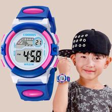 Silikonowe zegarki dla dzieci dla chłopców dziewcząt cyfrowy zegarek dla dzieci okrągłe LED elektroniczny sportowy zegarek wodoodporny Relogio Montre tanie tanio GoGoey 3Bar Z tworzywa sztucznego Klamra CN (pochodzenie) Szkło 20cm Nie pakiet 38mm Children s Watches ROUND 20mm 13mm