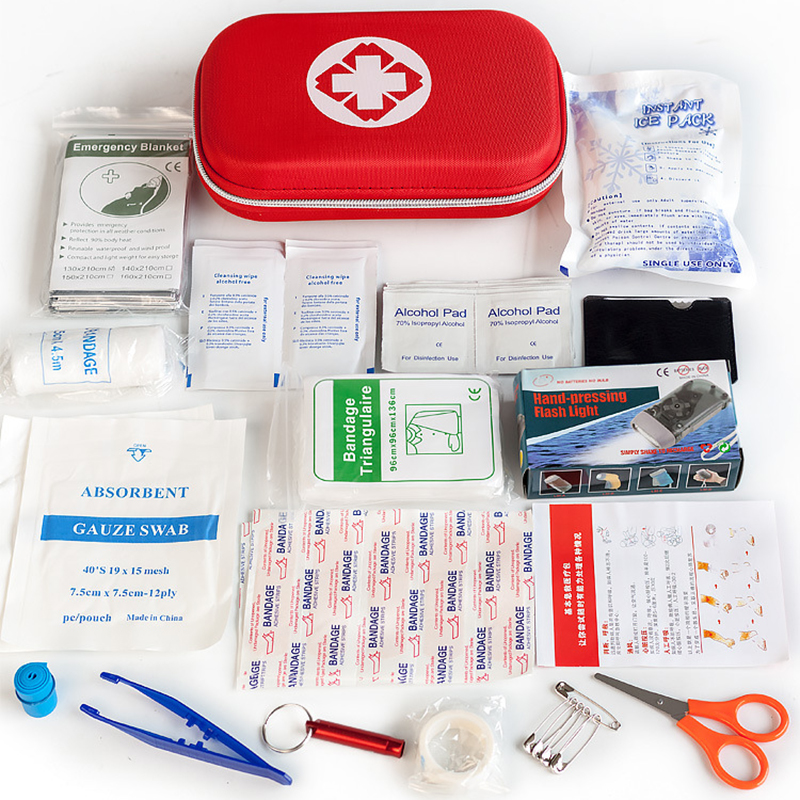 18 Items/44pcs Portable Travel Household Survival Kit Multi-Layer EVA First Aid Kit Outdoor Car Bag Emergency Kit