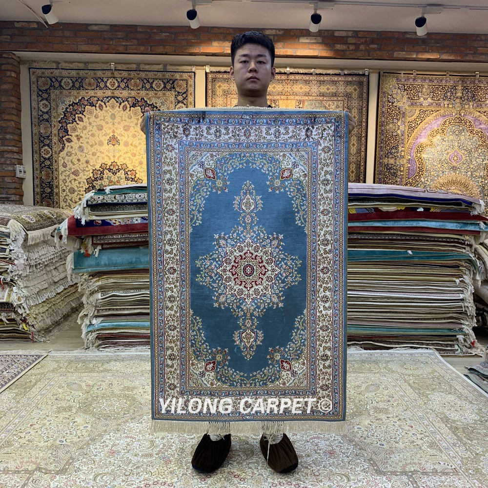 Yilong 2.5'x4' Blue Silk Rug Luxury Turkish Traditional Floral Rugs (HF159B)