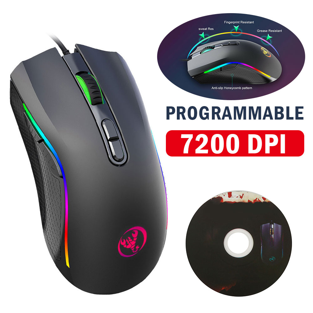 Willkey Mini Wired Gaming Mouse <font><b>7200DPI</b></font> program macro definition Gamer Mice A869RGB Mouse Optical for Laptop Computer image