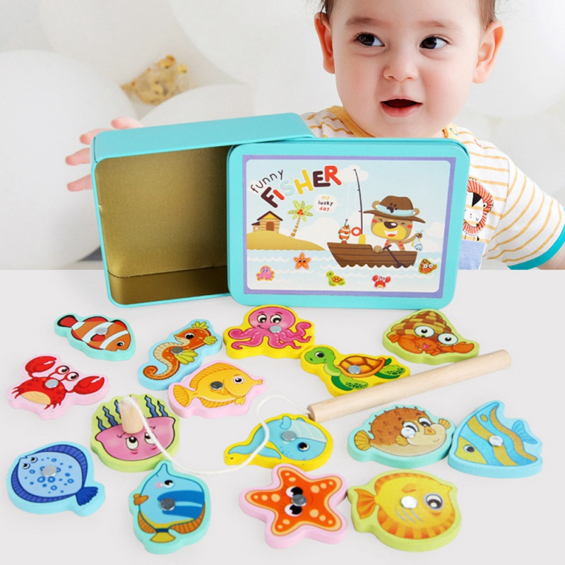 Magnetic Fishing <font><b>Toys</b></font> 15 Fishing <font><b>Children's</b></font> Wooden Parent-Child Interaction Early Childhood Educational Games Play House image