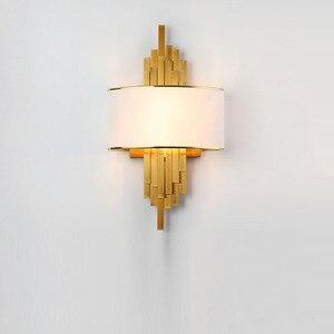 Image 2 - Светодиодный настенный светильник в виде металлической трубы для гостиной, золотистый/черный корпус, лампа для спальни, лампа для гостиной, домашний декор в стиле лофт, 90 260 В, скандинавский светильник