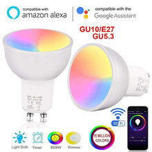 Nuevo Wifi Smart E27 lámpara de bombilla LED GU10/GU5.3/E27 bombillas de interruptor de Control remoto regulable para amazon Alexa/Asistente de Google(China)