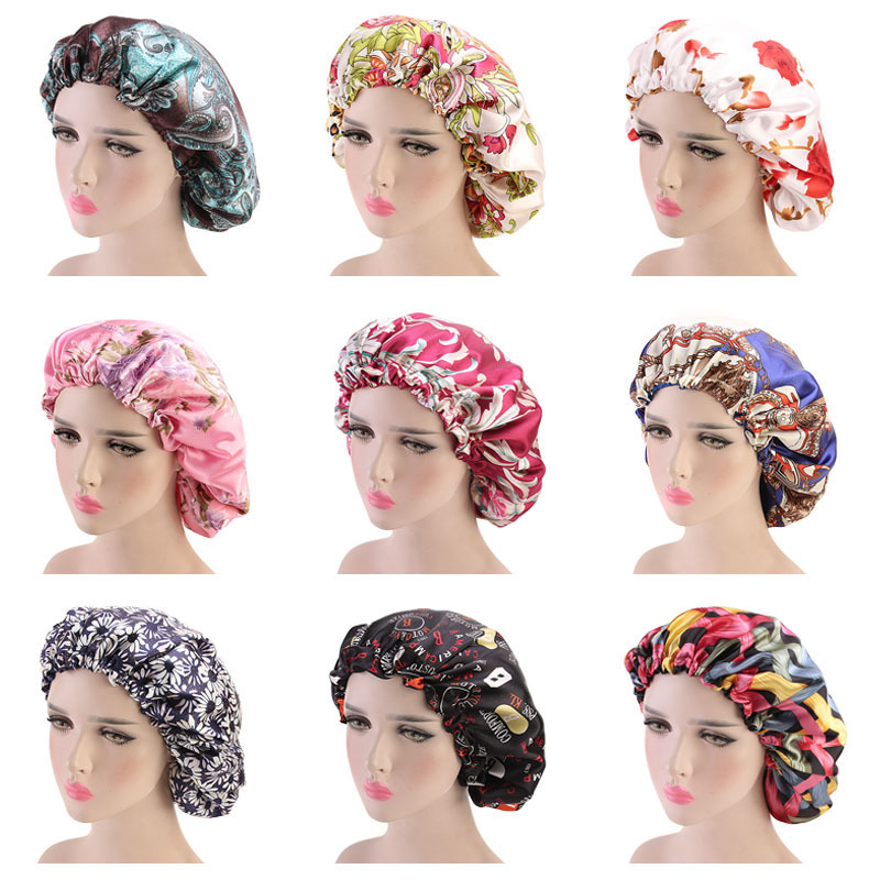 Women Double Layer Silky Hair Caps Cover Wave Night Rags Floral Bonnet Salon Hat Turban Durag Headwrap Hair Styling Tools