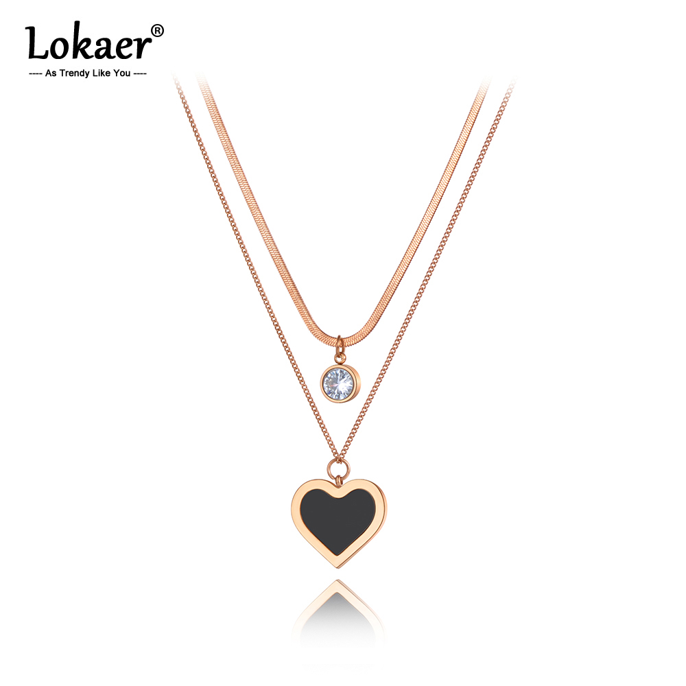 Lokaer Original Design Trendy Acrylic Heart Pendant Necklace For Women Stainless Steel CZ Crystal Chain Choker Necklace N20145