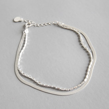 Filluck 925 Sterling Silver Chain Charm Bracelet Simple Double Layer  Silver Chain For Man Women's Bracelets Fine Gift