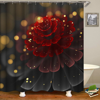 Flower Pattern Shower Curtains Bathroom Waterproof Cloth Colorful Bath Curtain Decoration With Hook large 240X180 Shower Curtain image