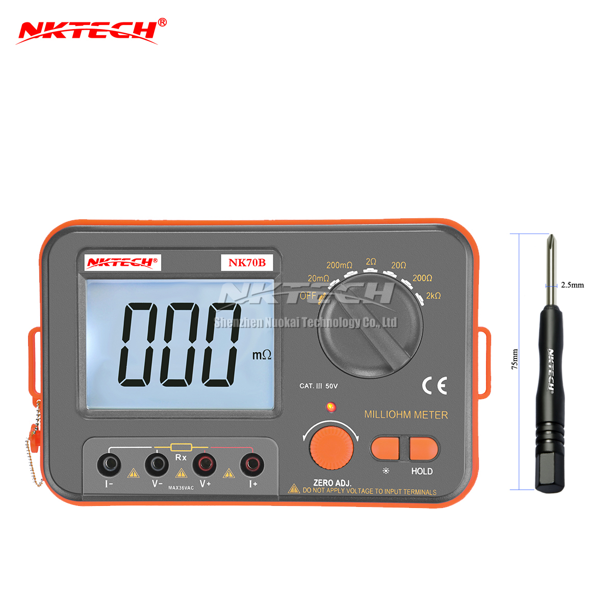 NKTECH NK70B 4 Wire Digital Metro Baixa Resistência Milliohm Tester Versão de Atualização de Diagnóstico-ferramenta Multímetro Ohmímetro Backlight