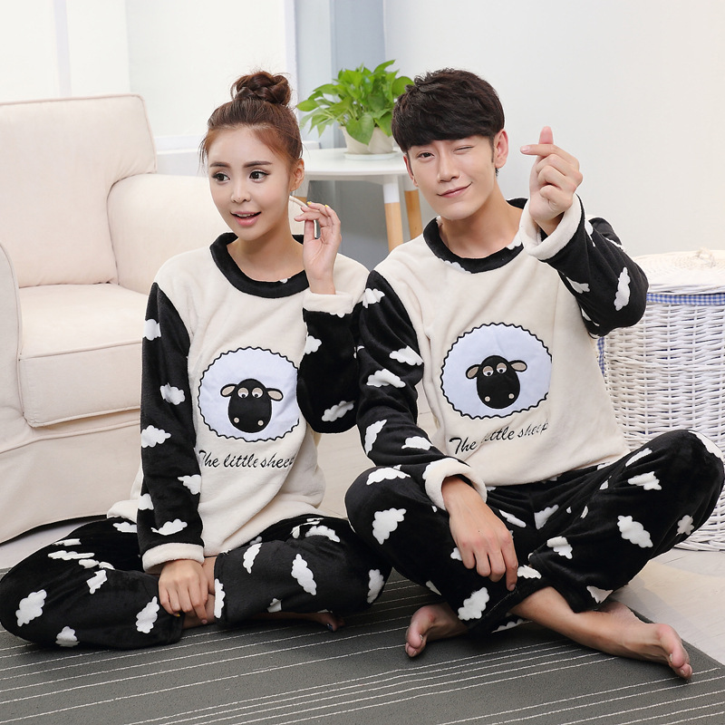 Suitable For [Temperature Attitude Warm] Couples Pajamas Flannel Thick Warm Loose-Fit Flannel Set Shaun