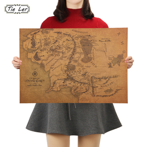 TIE LER Vintage Middle Earth Map On The Lord of The Rings Poster Home Decor Wall Sticker 51x35.5cm Retro Kraft Paper(China)