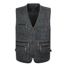 Top Selling Product In 2021 New Men's Denim Vest Casual Multi-pocket Photography Outdoor Men's Vest 7XL