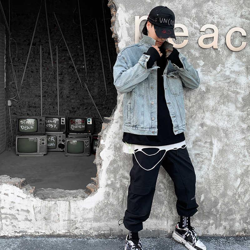 Japanese Streetwear Denim Jacket for Men Anime BLEACH Printing Jackets and Coats Oversize Blue Jeans Jacket Male 2019